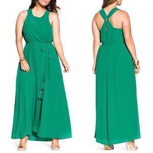 City Chic tassel belt tie maxi sun dress emerald